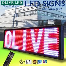 """OLIVE LED Sign 3Color RWP 15""""x40"""" IR Programmable Scroll. Message Display EMC"""
