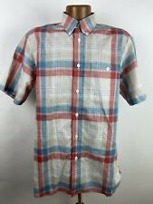 EUC Orvis EZCOOL & WRINKLEFREE Plaid Shirt Men's M Beige Red Blue Short Sleeve