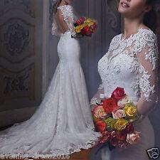 NEW White/Ivory Lace Wedding Dress Bridal Gown Custom Size 4 6 8 10 12 14 16 18+