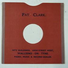 "78rpm 10"" card gramophone record sleeve / cover PAT CLARK , WALLSEND ON TYNE"