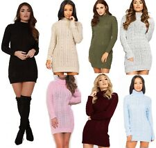 New Womens High Polo Neck Chunky Cable Knitted Jumper Mini Tunic Dress Top 8-18