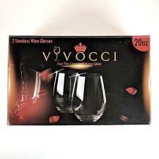 Vivocci Unbreakable Plastic Stemless Wine Glasses 20oz Set of 2 Dishwasher Safe