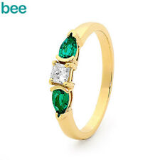 New Diamond Emerald 9k 9ct Solid Yellow Gold 2 or 3 Stone Rings 25506/G
