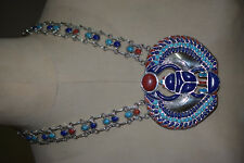 Hallmark Egyptian Pharaoh Silver Necklace,Winged Scarab, precious Gemstones