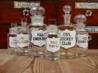 6 x Vintage Antique Victorian Chemist Apothecary Scent Bottles Jars Pharmacy