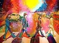 The Beatles Zebra Crossing Watercolour Style Art Glossy Print 8x11 John Lennon