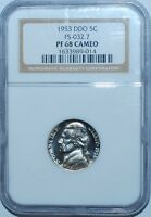 1953 NGC PR68CAM FS-101 Cameo Doubled Double Die Obverse Jefferson Nickel
