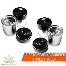4 X MARINE TRAILER HUB MATE BEARING BUDDIES PROTECTOR KIT & BLACK SOFT COVERS