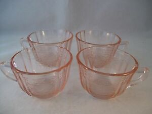 Vintage Indiana Glass Madrid Pink Set of (4) Tea Cups Recollection USA 1970's