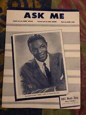 Ask Me Sheet Music copyright 1954 Nat King Cole