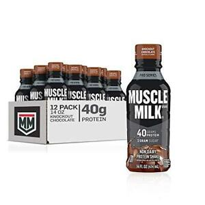 Muscle Milk Pro Series Protein Shake, Knockout Chocolate, 40g Protein, 14 Fl Oz,