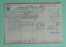 1971 Ontario Canada Non Resident Angling Fishing License Permit