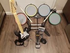 Xbox 360 Rock Band Set Bundle Drums Pedal Stand Fender Stratocaster Guitar Micro
