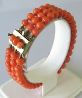 Edwardian coral beaded bracelet with silver gilt clasp