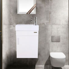 """19"""" White Small Bathroom Vanity Floating W/ Ceramic Sink Faucet Drain Combo"""