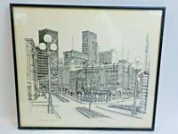 Don R. Morrow 1977 Signed Framed Art Print Seattle Washington The Old and New