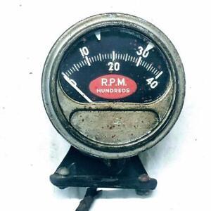 Vintage Sun RC40 6v 4000RPM Untested Tachometer Rare Red Football USA Tach RC-40