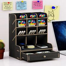 Black Wooden Office Desk Organizer Desktop Pen Pencil Storage Container Holder ~