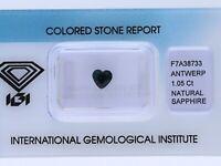 natürlicher 1,05 Karat Saphir Herz dark blue IGI Expertise