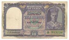 India British 10 Rupees ND (1943) P. 24 Deshmukh aEF Note George VI RARE