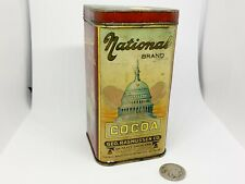 1920 Vintage National Brand Cocoa Tin Chocolate Advertising Can Metal Container