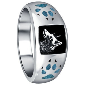 Sterling Silver Turquoise Gemstone Inlay Wolf with Paw & Claw Southwestern Ring