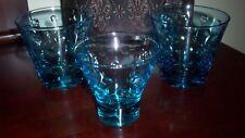 (3) VINTAGE HAZEL WARE CAPRI BLUE GLASS SKOL MOD DOTS COCKTAIL GLASSES