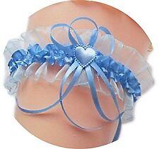 XXL Strumpfband Braut bis 80 cm blau hellblau Herzchen Schleifchen Hochzeit Neu