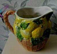 Large Vintage  Pottery Lemonade Pitcher Jug Lemons COUNTRY FARMHOUSE faux basket