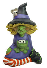 """Winnie Witch with Frog and Mouse 7"""" Ceramic Halloween"""