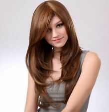 Human Hair Long Straight Wigs Natural Light Brown Real Hair Wig Women's Hair Wig