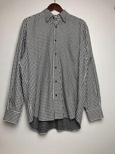 Robert Talbott Carmel Men's size L dress shirt long sleeve black white