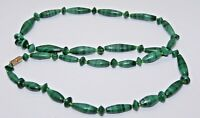 Vintage Art Deco Polished Malachite Beaded Necklace-Beautiful!👓