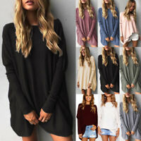 Womens Long Sleeve Sweater Blouse Ladies Oversized Jumper Pullover ToDS
