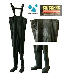 Brickers WADERS Fishing Gear Black Chest Waders Waterproof New Wellies Sizes 6-7