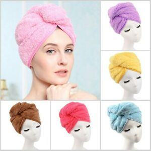 100% Cotton After Shower Hair Drying Wrap Towel Quick Dry Hair Hat Cap Turban