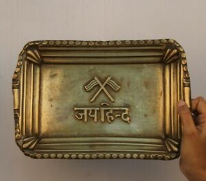 Old Brass Tray Engraved Jaihind Carving Unique & Usable  11432