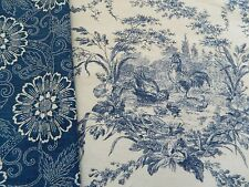 A PAIR  OF WAVERLY BLUE LA PETITE FERME ROOSTER FRENCH COUNTRY PILLOW COVERS