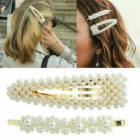 Korean Style 2PCS Women Pearl Hair Clip Hairband Comb Bobby Pin Barrette Hairpin