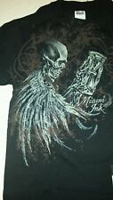 Miami Ink Tattoo Skull Skeleton Mens Small Black T-Shirt Hourglass BNWT Rare DS