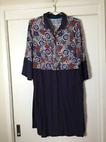 Blue Illusion Womens Navy Floral Buttoned Shift Dress Size L Viscose Good Condt