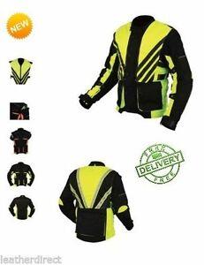 CE Armoured Mens Motorcycle Motorbike Waterproof Black Sports Textile Jacket