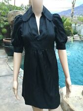 Betsey Johnson SZ 2 100% Silk Black Collared Baby Doll Grunge Tie Back Dress