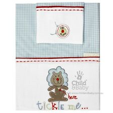 Brand New Bubba Blue Embroidered Tickle Me Boys Bassinette Sheet Set Gorgeous