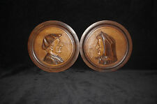 pair 2 French art deco folk art wood hand carved plate breton 1930 artist signed