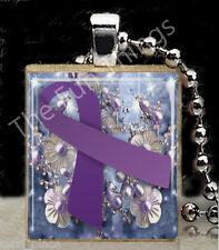 Purple Ribbon Scrabble Tile Pendant Jewelry Domestic Abuse Awareness Support C