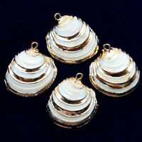 10Pcs 25x23x5mm Natural Gold Plated White Spiral Seashell Pendant Bead A-21BK