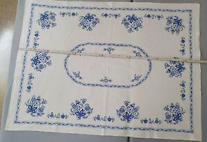 Zwiebelmuster Tischdecke Tafeltuch kochfest weiß blau 90x133cm Geschenk sammeln