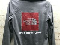 The North Face Women's Gray Full Zip Hoodie With Back LOGO Thumbholes Size XS