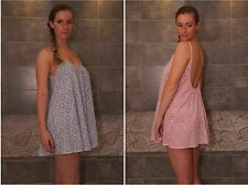 Women 100% cotton babydoll nightgown nightdress nightie uk 8 size S pink or blue